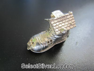 Vintage Boot Solid Silver Charm, opens to reveal a family, made by CHIM, c1975