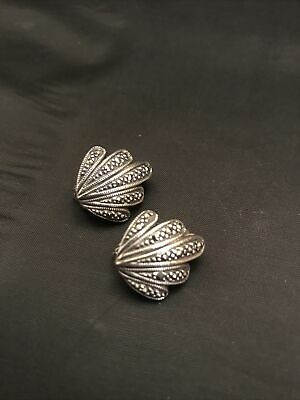 Vintage Solid Sterling Silver Marcasite Clip on Earrings