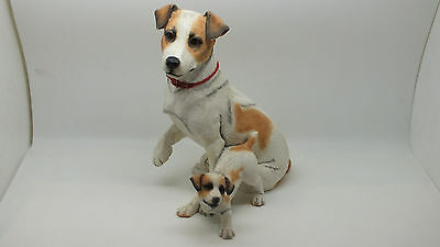 Jack Russell with Puppy by Country Artists Handcrafted & Painted Fine Sculpture.