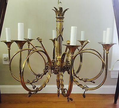 STATELY Vintage Bronze Brass French Directoire 8 Lamp Hunt Horn Chandelier XL
