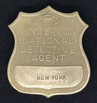 VINTAGE PINKERTON NATIONAL DETECTIVE AGENT NEW YORK Collector's Police Badge
