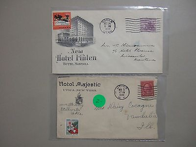 "Two '30 HOTEL covers with FIGHT TUBERCULOSIS seal stamps""1930,1933"