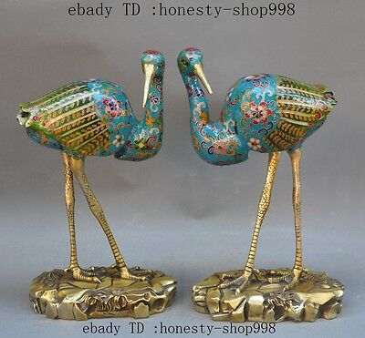 Old China bronze Cloisonne Enamel carving flower lucky Crane Bird sculpture pair