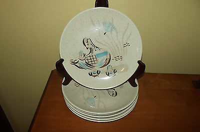 Lot of 6 Vintage Red Wing Pottery Bob White Quail Dinner Plates #2