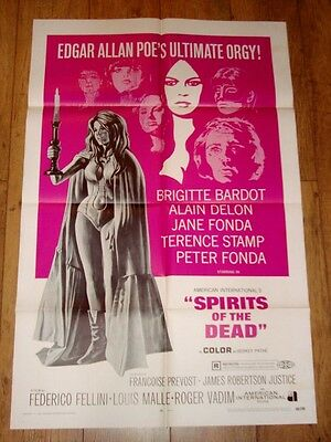VINTAGE BRIDGET BARDOT FILM 1960s POSTER 41 X 27 SPIRITS OF THE DEAD
