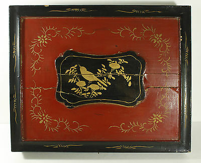 Vtg Asian Wood Black Box Red Bird Rustic Wall Art Object Large 17""