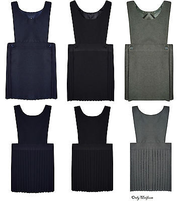 Pleated Bib Pinafore Dress Ages 2-16 Girls School Uniform Grey Black Navy Grey