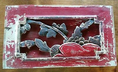 """Antique Chinese Furniture Architectural Hand Carved Wood Panel 6""""x10.5"""""""