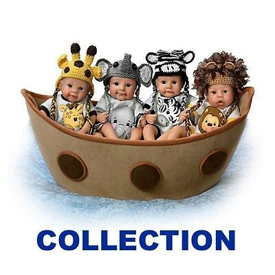 Ashton Drake - NOAH S ADORABLE ARK complete set of 4 baby dolls with fabric ark
