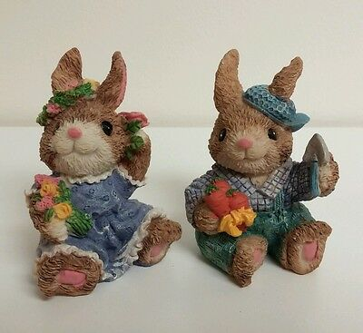 "Ceramic Brown Bunny Rabbit 3.5"" Lot Farm Country Easter Decor"