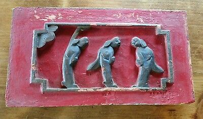"""Antique Chinese Furniture Architectural Hand Carved Wood Panel 6""""x10"""""""