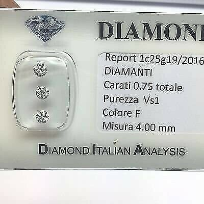 DIAMANTE Trilogy 0,75 CARATI Totale PUREZZA VS 1 COLORE F