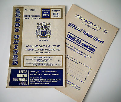 Leeds United vs Valencia CF Inter Cities Fairs Cup January 1967 Programme