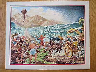 1950'S VINTAGE CLASSROOM POSTER Path Through the Sea  Bible Stories Macmillans