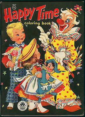 Uncolored HAPPY TIME COLORING BOOK #4857 Merrill 1955 (5185)
