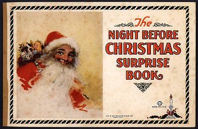 "UNCOLORED ""The Night Before Christmas Surprise Book"" #332 Saalfield 1921 (4147)"