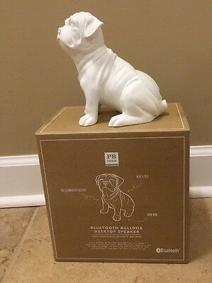 NEW Pottery Barn Teen Bluetooth Animal Desktop Speaker BULLDOG WHITE