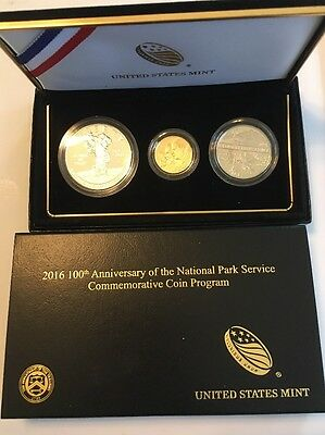 2016 100th Anniversary National Park Service 3-Coin Proof Set w/ OGP Gold Silver