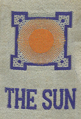 Vintage/antique early 1900s woven silk-use in crazy quilt- ZODIAC: THE SUN