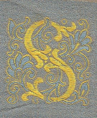 """Vintage/antq woven silk embroidered - Letter """"S"""" - use in crazy quilt applique"""