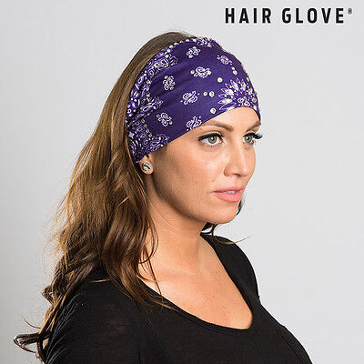 Hair Glove® EZ Bandz, Purple Paisley Bandana w/Gems 50141 Stretch Biker Headband
