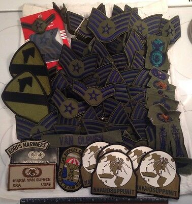 VTG USAF US AIR FORCE RANK INSIGNIA ID'd SHOULDER MILITARY 80 PATCH LOT & MORE