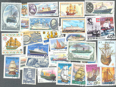 Ships 300 all different stamps collection-all types-sail - modern