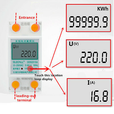 AC20~250V 50Hz DDS 2015A Single Phase DIN-rail Type Kilowatt Hour kwh Meter