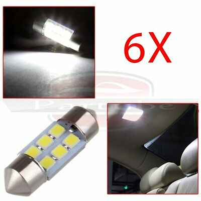 6x 31mm 6SMD 2835 LED Festoon Interior Dome Map Light DE3175 Bulbs Super White