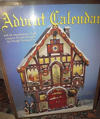 Costco Large Wood Christmas Vict House Advent Calendar with 24 Wooden Doors EUC