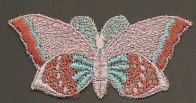 Vintage/antique early 1900 woven silk applique-use in crazy quilt -BUTTERFLY PNK