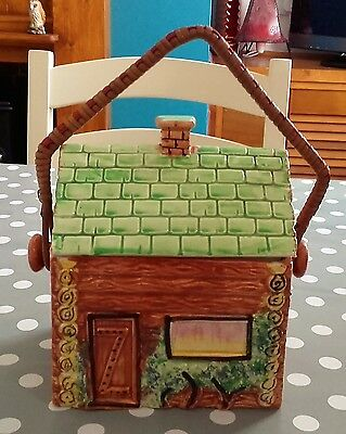 Price Brothers, Log cabin ware,Pottery,Biscuit barrel,cookie storage,Handpainted
