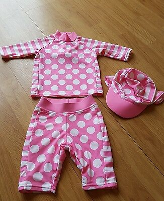 TU Baby Girls Pink Spotty UV Swimsuit Swim Suit Costume Hat 6-9 months (7)