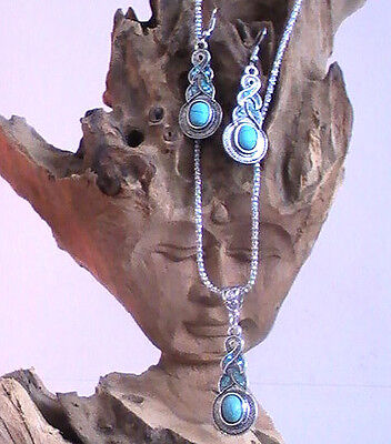 Native American Necklace And Earring Set, Silver And Turquoise Blessed With Sage