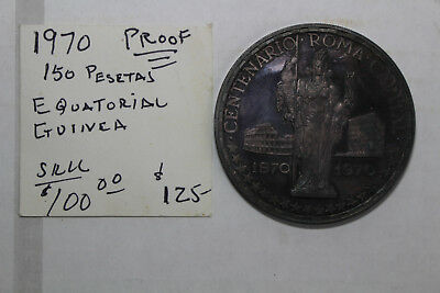 1970 Equatorial Guinea Toned Large Silver Proof - Free Shipping