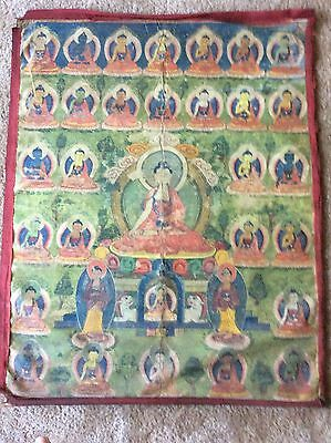 "RARE!!! NEPAL!! THANGKA PAINTING OVER 75 YEARS OLD.SIZE:33""x26"""