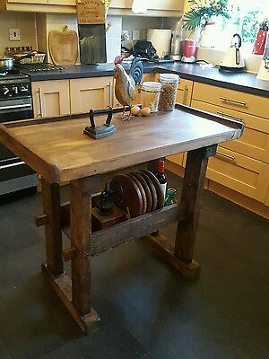 Vintage butchers block old butchers table /kitchen island rustic