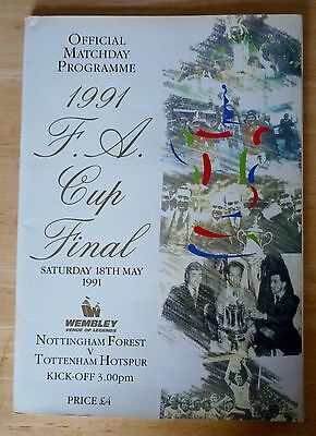 1991 Fa Cup Final Programme + Poster - Nottingham Forest - Tottenham Free Post