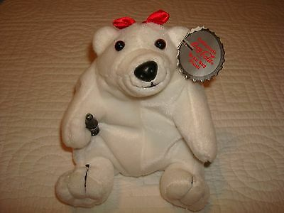 Small Stuffed Bean Bag Plush Coca Cola Polar Bear, 1997