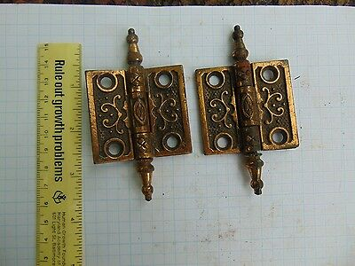 "Hinges  2"" x 2"" Victorian Eastlake Loose Pin Butt Cast Iron W/ Brass Finish"