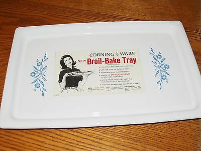 Vintage Corning Ware Bake Broil Tray Cornflower Blue Rectangle Serving P-35-B