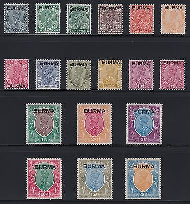 BURMA 1937 KGV SG1-18 Complete Set to 25r VERY FRESH MINT WITH WHITE GUM
