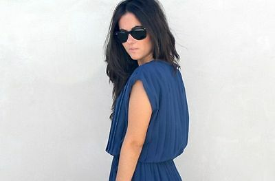 Zara New Blue Pleated Dress Size L Uk 12