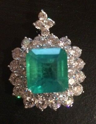 4.10CT Emerald cut Real Doublet Emerald gemstone, Sterling Silver Pendant,