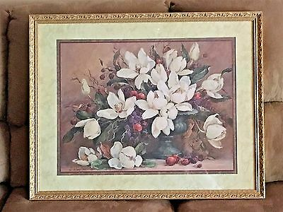 Homco Home Interior Picture Decor Barbara Mock Magnolias Collectible Gold Frame