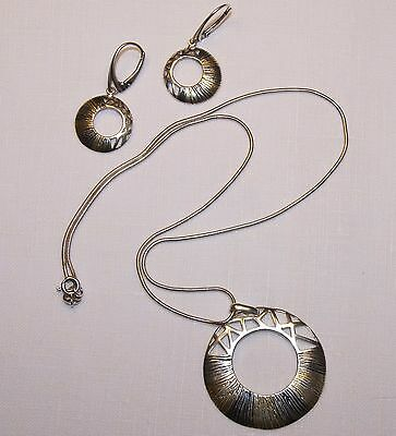 Sterling Silver (Signed) Two Tone Necklace and Earrings Set