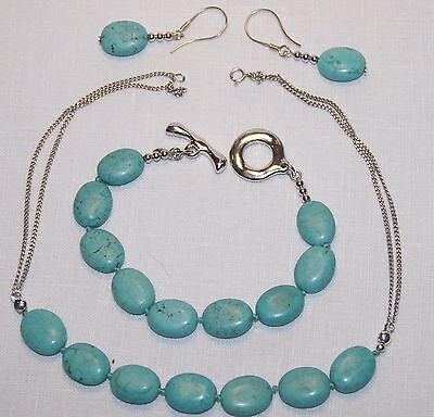 .925 Sterling Silver and Turquoise Necklace, Bracelet and Earrings Set