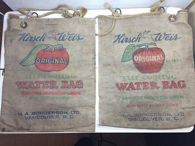 Vintage Hirsch Weis Self-Cooling canvas water bags Vancouver B.C.