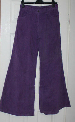Purple Vintage 17 inch wide Flares Cord Trousers Ladies W 32