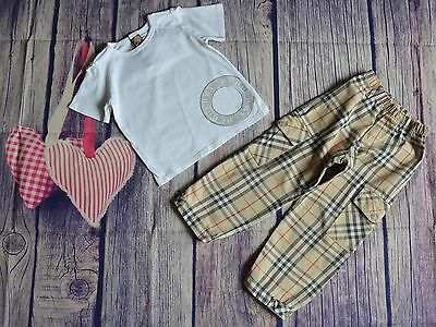 Burberry Boys Designer Clothes Bundle T-shirt Checked Cargo Pants 3 Years VGC